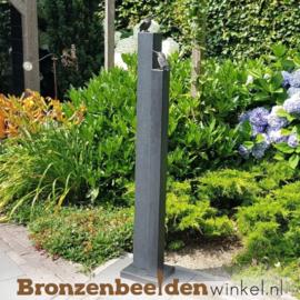 Tuinbeeld ijsvogels in brons op twee zuilen BBW88367