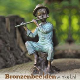 Bronzen jongen met fluit BBW1054br
