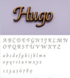Bronskleurige letters Hugo
