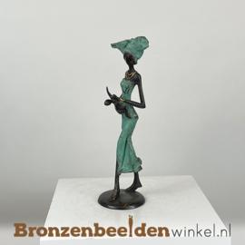 """Afrikaans beeld """"Moeder met kind"""" 26 cm BBW009br17"""