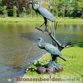 Bronzen beeld reigers als fontein BBW948br