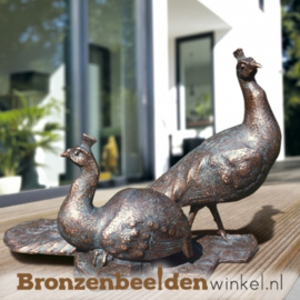 Bronzen pauwen beeld BBW84010