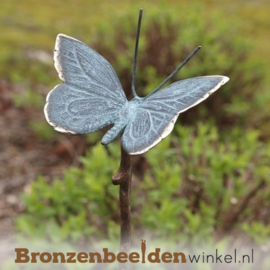 Bronzen vlinder beeld op stok als tuinsteker BBW0434