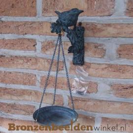 Bronzen musje met waterdrinkbankje BBW0220br