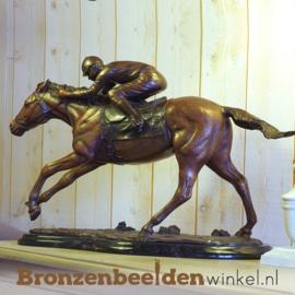 Bronzen beeldje paard met jockey BBW0938br