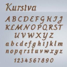 Bronzen letters Kursiva