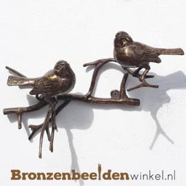 Bronzen musjes naast elkaar voor aan de muur BBW0397br