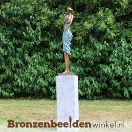 Beeld violiste brons tuinbeeld BBW1719br