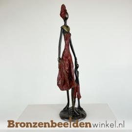 """Afrikaans moeder kind beeld """"Gelukkig"""" 35 cm BBW009br24"""