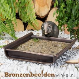 Bronzen egel beeld met voederschaal BBW37251