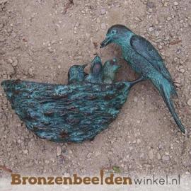 """Wanddeco brons """"Vogel met nestje"""" BBW0398br"""
