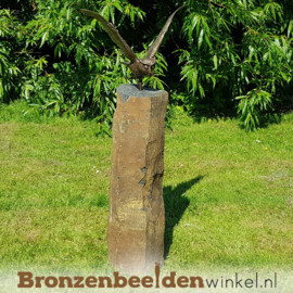 Vogel tuinbeeld uil op basalt sokkel BBW1252br