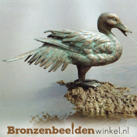 Tuinbeeld eend in brons BBWR88167