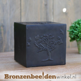 """Bronzen urn """"Boom en vogels"""" BBW0610br"""