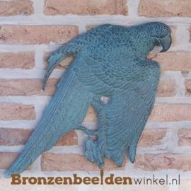 Bronzen beeld papegaai muurdecoratie BBW0868br