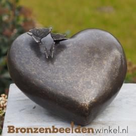 Bronzen asbeeldje hart met vlindertjes BBW0432BR
