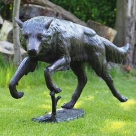 Beeld wolf in brons BBW94078