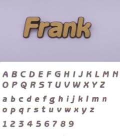 Bronskleurige letters Frank