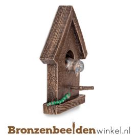 Bronzen vogeltje in vogelhuisje BBW37239