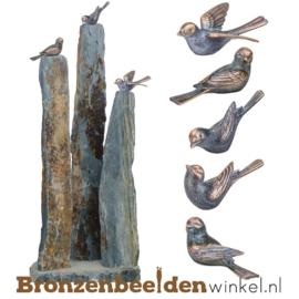 Tuinbeeld vogeltjes op leisteen zuilen BBW80008