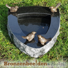 Vogeldrinkschaal Indian Black met 4 vogeltjes BBWR42053