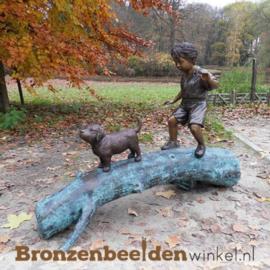 """Bronzen tuinbeeld """"Jongetje met Hond"""" BBW556"""
