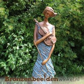 "Vrouwenbeeld ""Violiste"" bronzen tuinbeeld BBW1719br"