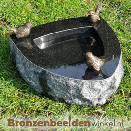 Vogeldrinkschaal Indian Black met 3 vogeltjes BBWR42052