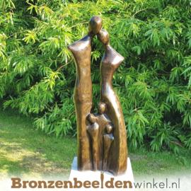"""Bronzen tuinbeeld """"Gezin met 3 kinderen"""" BBW2390br"""