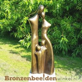 """Bronzen tuinbeeld """"Gezin met 2 kinderen"""" - kleine versie BBW2388br"""