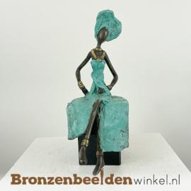 """Afrikaans beeld """"Lao op sokkel"""" 26 cm BBW009br39"""