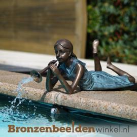 """Zwembad beeld """"Meisje met fluit"""" BBW1170br"""