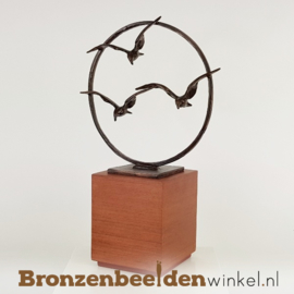 Asbeeld bronzen vogels mini urn BBW006br82u