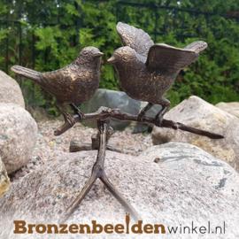 2 vogels op tak in brons BBWFH2M