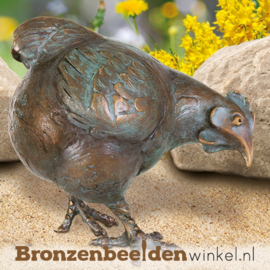 Bronzen beeld kip met kuikens BBW37203