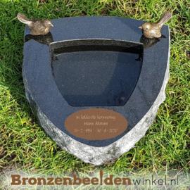 Gedenksteen urn vogelbadje Zwart graniet BBWR42051