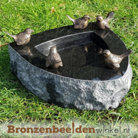 Vogeldrinkschaal Indian Black met 5 vogeltjes BBWR42054