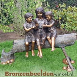 Tuinbeeld kinderen op boomstam BBW959
