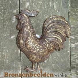 Bronzen wanddecoratie beeld haan BBW0174br