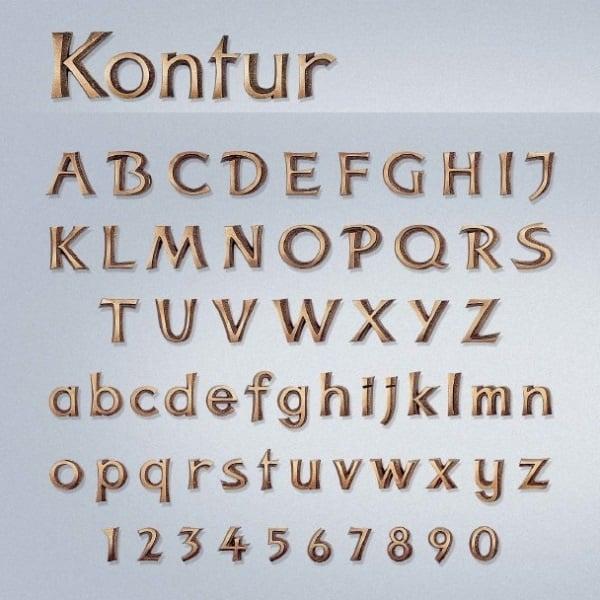 Bronzen letters Kontur