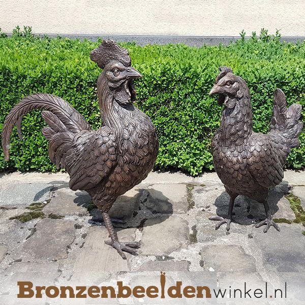 Bronzen haan en hen beeld BBW6337-6333