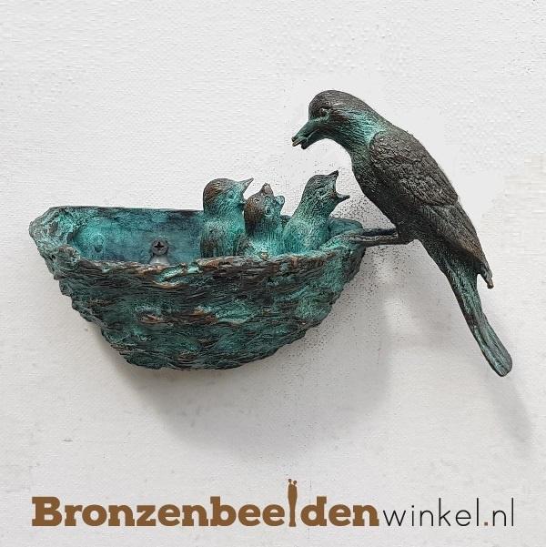 Bronzen vogel met nestje BBW0398br
