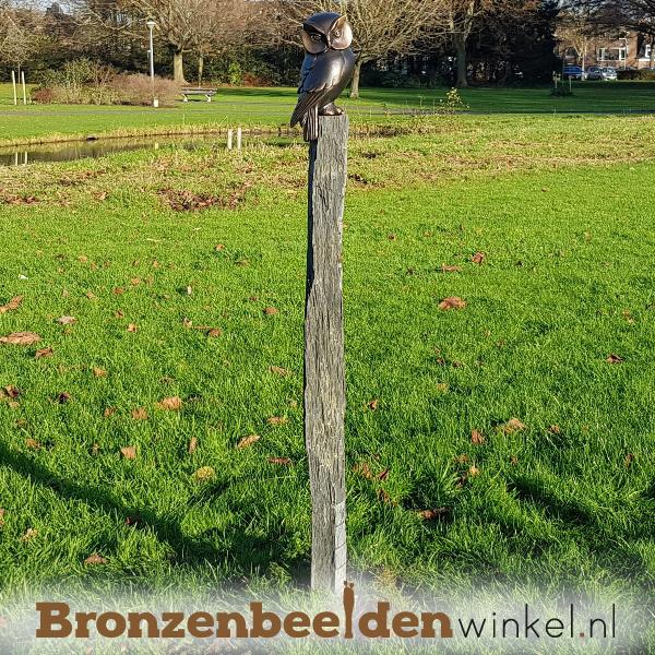 Vogel tuinbeeld uil op sokkel BBW37234