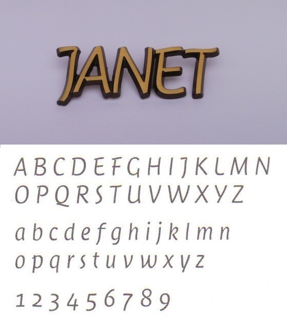 Bronskleurige aluminium letters Janet