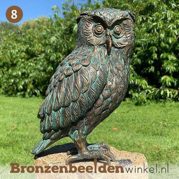 NR 8   Cadeau vrouw 65 jaar ''Beeld uil brons - steenuil'' BBWR89002