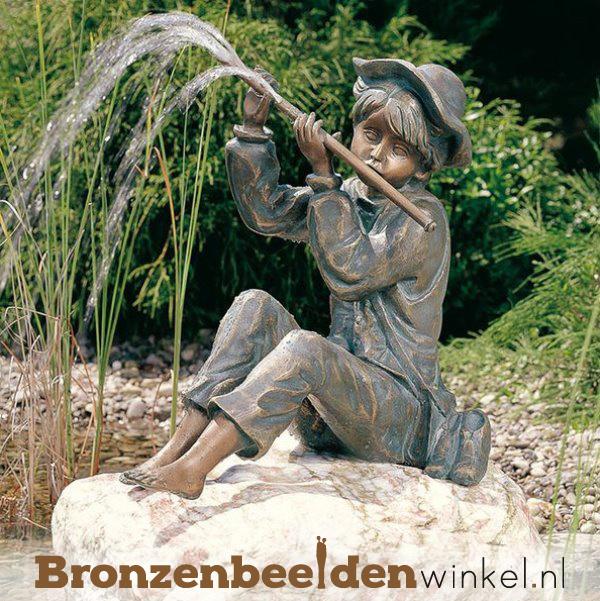 """Bronzen tuinbeeld """"Peter met fluit"""" BBWR88722"""