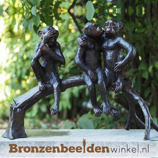 Bronzen aapjes beeld BBW94254