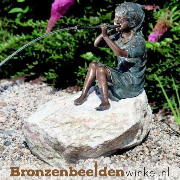 """Bronzen tuinbeeld """"Meisje met fluit"""" BBWR88022"""