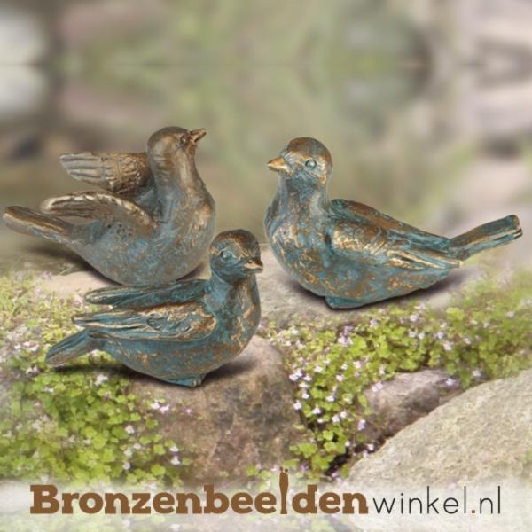 Drie bronzen vogel beeldjes BBW88999