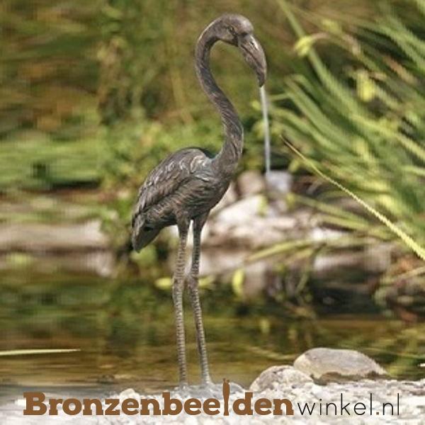 Spuitfiguur flamingo vogel in brons BBWR88347